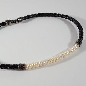 Honora Pearl & SS Braided Leather Choker Boho Chic